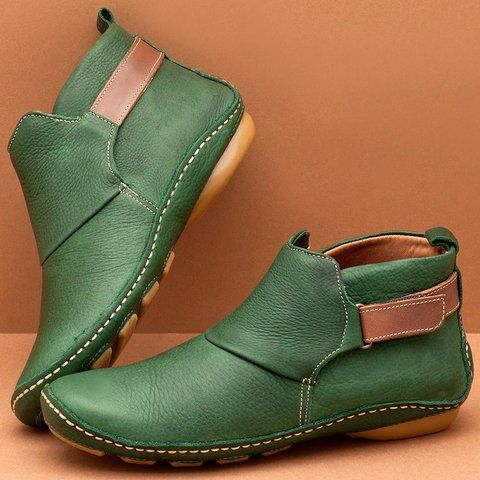 Buy Boots For Women At Justfashionnow Online Shopping Justfashionnow Boots Flat Heel Round Toe Casual Zapatos Italianos Mujer Zapatos De Cuero Zapatos Hombre