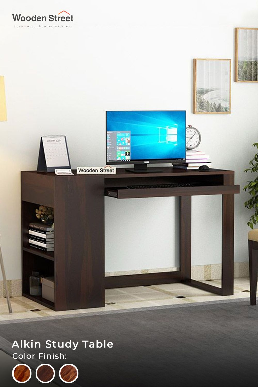 Buy Alkin Study Table Honey Finish Online In India Wooden Street In 2020 Study Table Wooden Street Office Design Trends