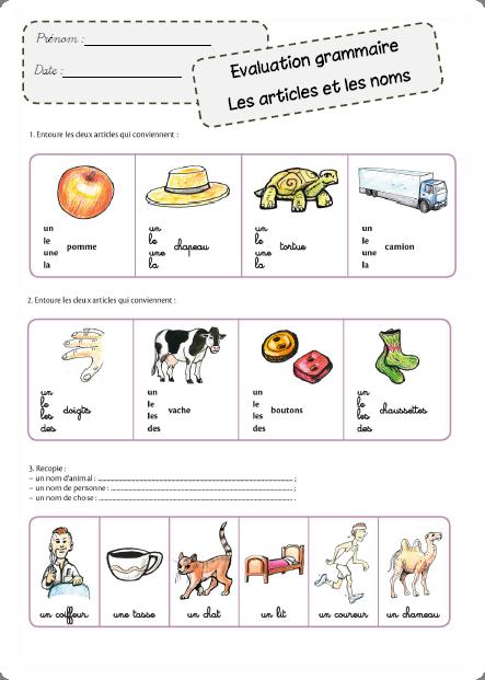 Faire de la grammaire au CP - Evaluations | apprendre le ...
