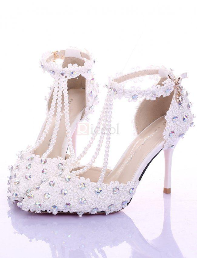 90898652957cde ❀ Thin Heels Lace Diamond Bride Shoes