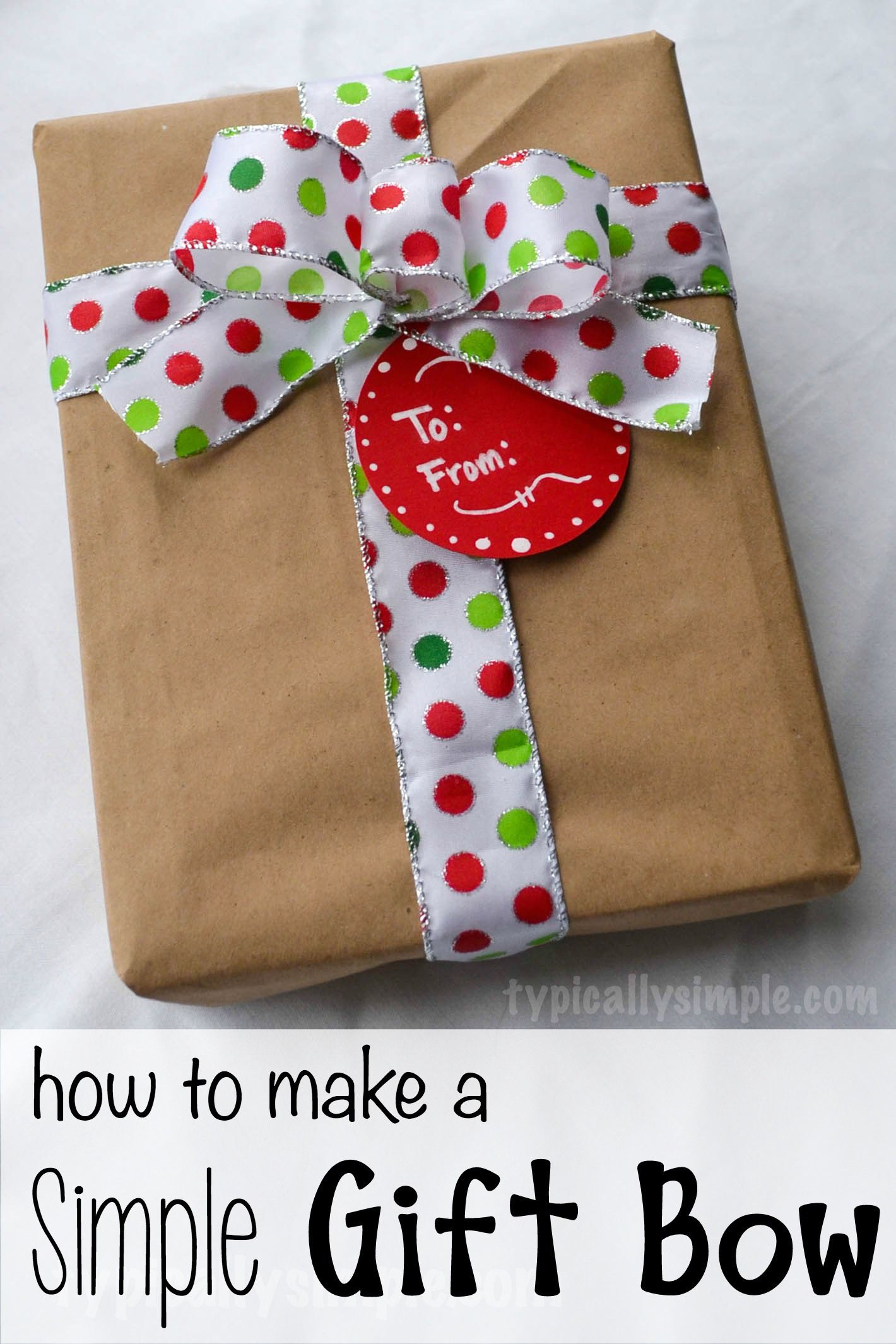 This easy to make gift bow is perfect for adding to Christmas gifts.