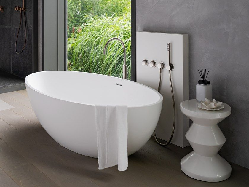 Vasca Da Bagno Centro Stanza In Solid Surface Cocoon Atlantis By