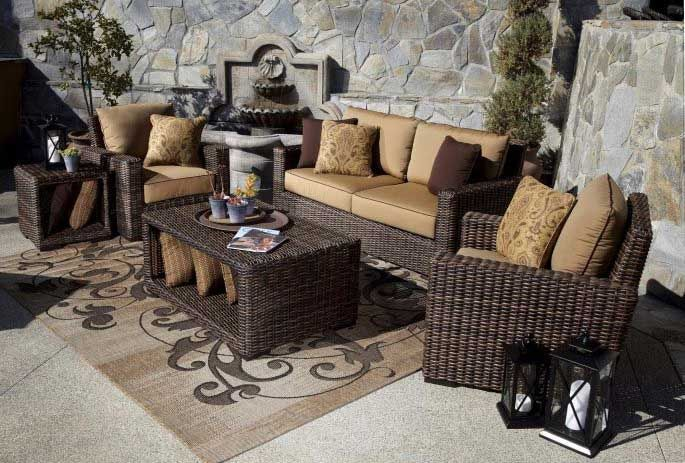 Steadfast Rules For Decorating With An Outdoor Area Rug Patio Furniture Sets Wicker Patio Furniture Outdoor Furniture