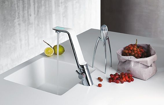 Kitchen faucet La Cucina Alessi Sense by Oras. Faucet is opened by ...