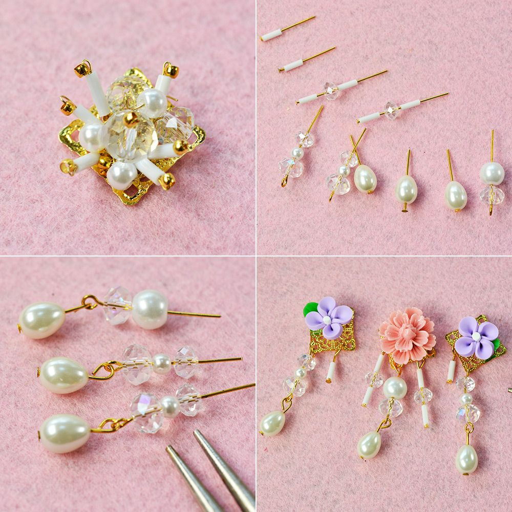 in mm bead gold stud beaded earrings peach pink pin seed