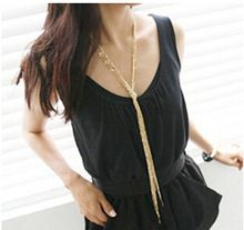 [mix $5]free shipping Fashionable upscale women gold knotted multilayer tassel long necklace/sweater chain(China (Mainland))
