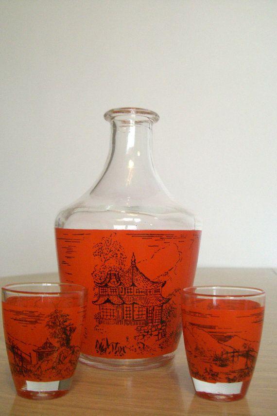 Vintage Saki SetGlass Decanter2 Saki CupsMade by RetroVintageous