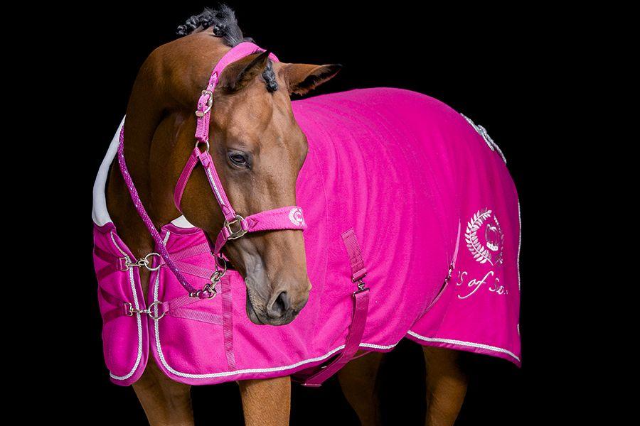 rosa fleecetäcke häst