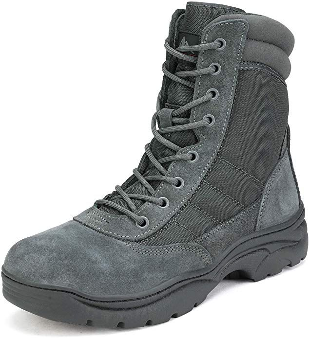 NORTIV 8 Mens Military Tactical Work Boots Side Zipper Leather Motorcycle Combat Bootie