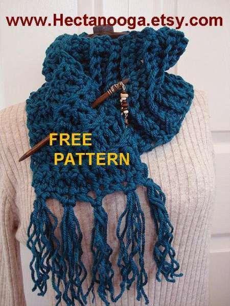 Chuncky Crochet Teal Scarf With Fringe | Pinterest | Moda de punto ...