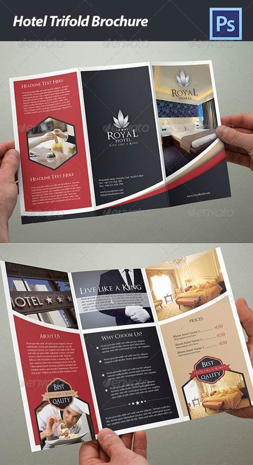 GraphicRiver Hotel Trifold Brochure - bold blocks with hint of curve