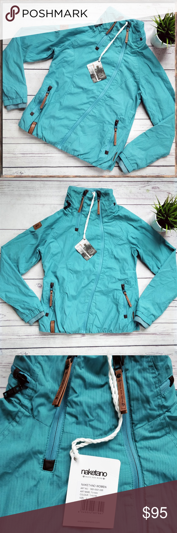 NWT NAKETANO Forrester Turquoise Zip Jacket L This is a cute