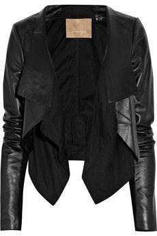 Cotton-paneled leather jacket