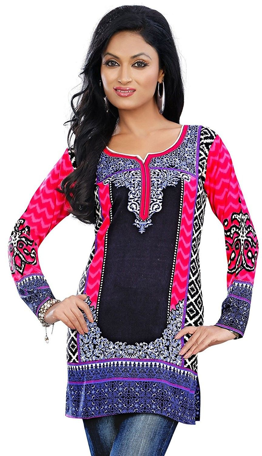 ab96a02cd7 colorful Indian Kurti Tunic Top Printed Womens Blouse India Clothes - Pink  - C411UIZWYNF,Women's Clothing, Tops & Tees, Blouses & Button-Down Shirts # women ...