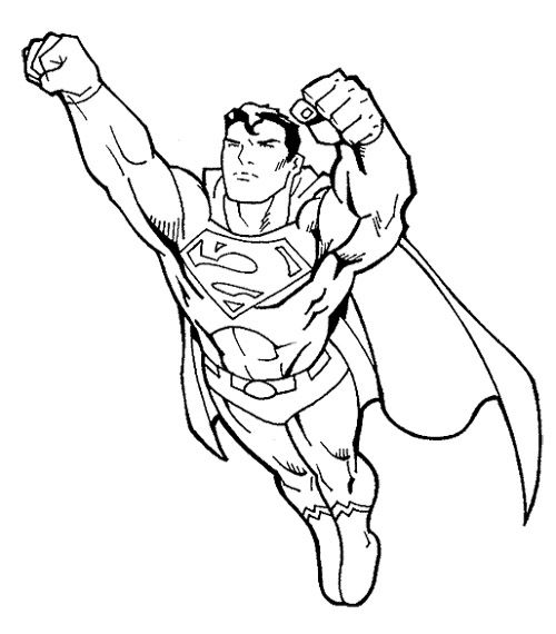 Superman fly coloring page