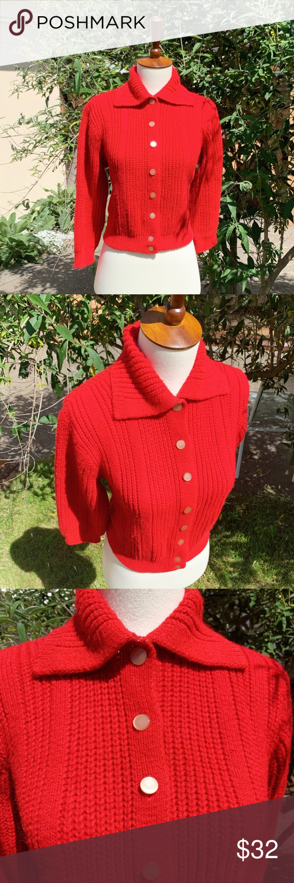 Vintage 50s Red Knit Cropped Cardigan Sweater | Cropped