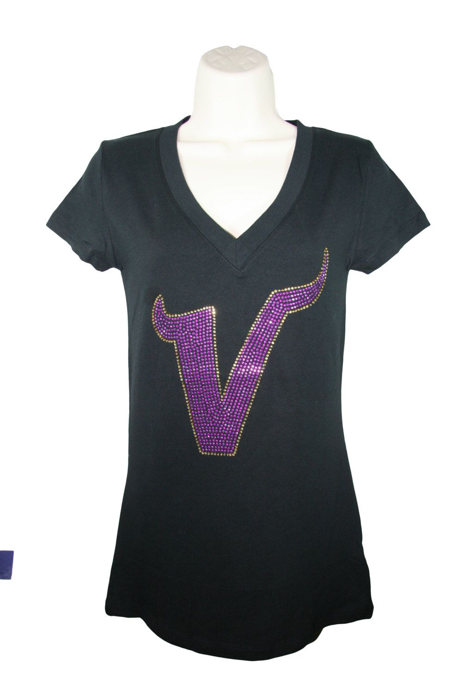 29221df98 Free Shipping - Minnesota Vikings Rhinestone Bling Women s Bella V-Neck  Shirt by BlingMyTeam on Etsy