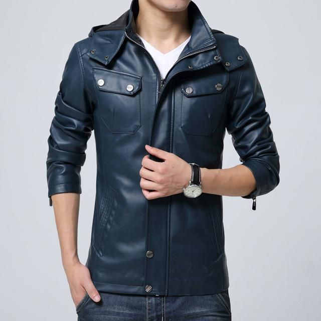 a050d2998 Stylish Men Hooded Leather Jacket Detachable Cap in 2019 | Products ...