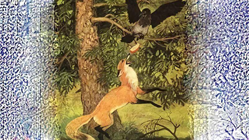 Ворона сидит на ёлке с сыром. Под ёлкой лиса разгадывает ...