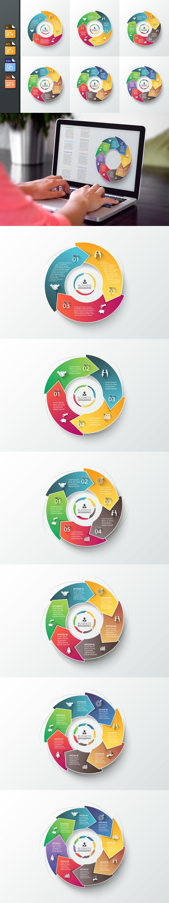Arrows business infographic template