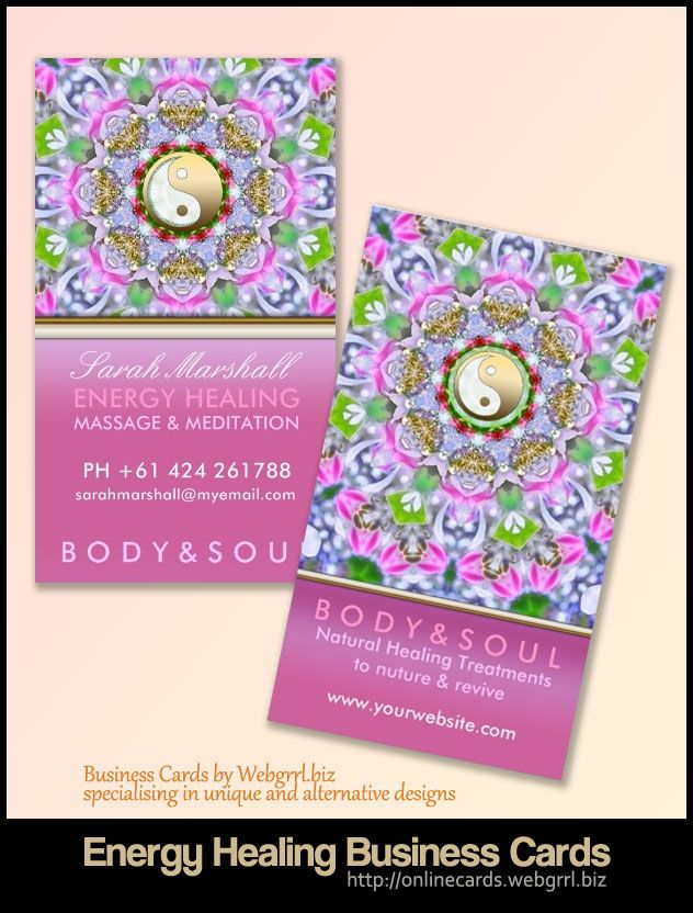 Sparkly Pink Energy Healing New Age Business Cards