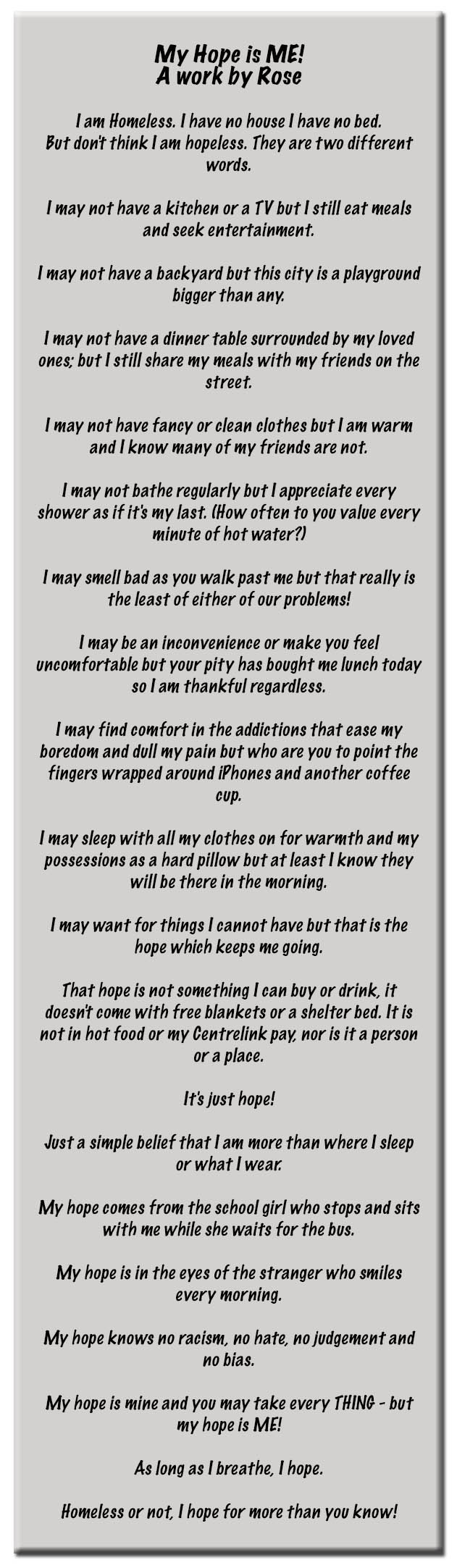 diary of a homeless person Runaways become homeless people real life stories of runaways  for more stories, poems and diary entries from homeless people and runaways, subscribe to our .