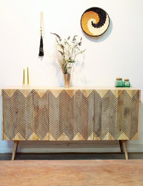 Wooden Sideboard Solid Patterned Sideboard Scandinavian Design Home Decor Tv Decor