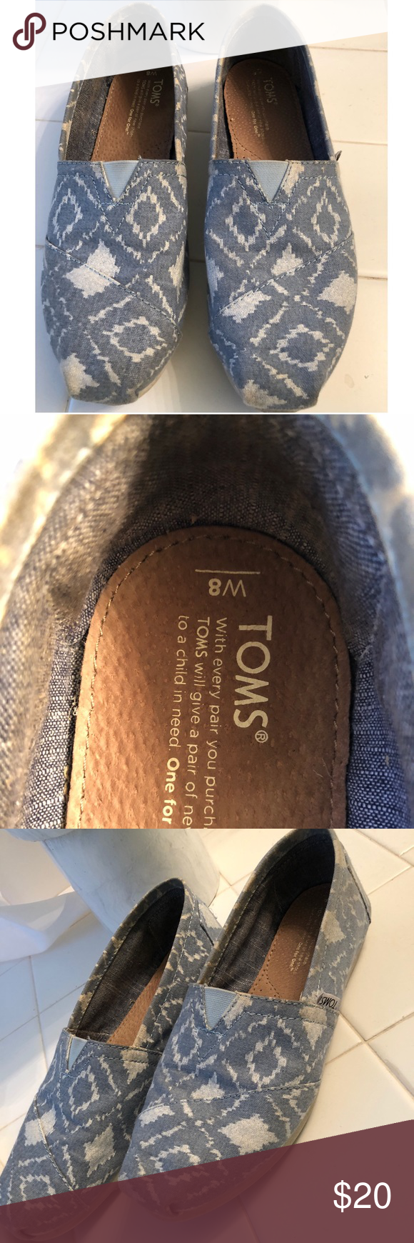 b8ffc5c9553 Size 8 TOMS Blue and white used TOMS. Super comfy Toms Shoes Flats & Loafers