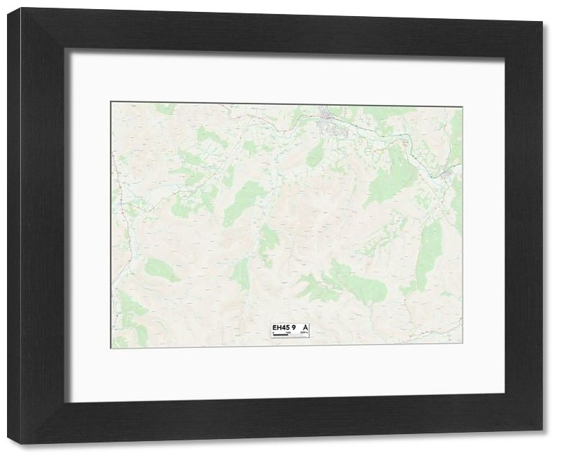"""Framed Print Scottish Borders EH45 9 Map 14""""x12"""" inch Frame and mount made in the UK"""