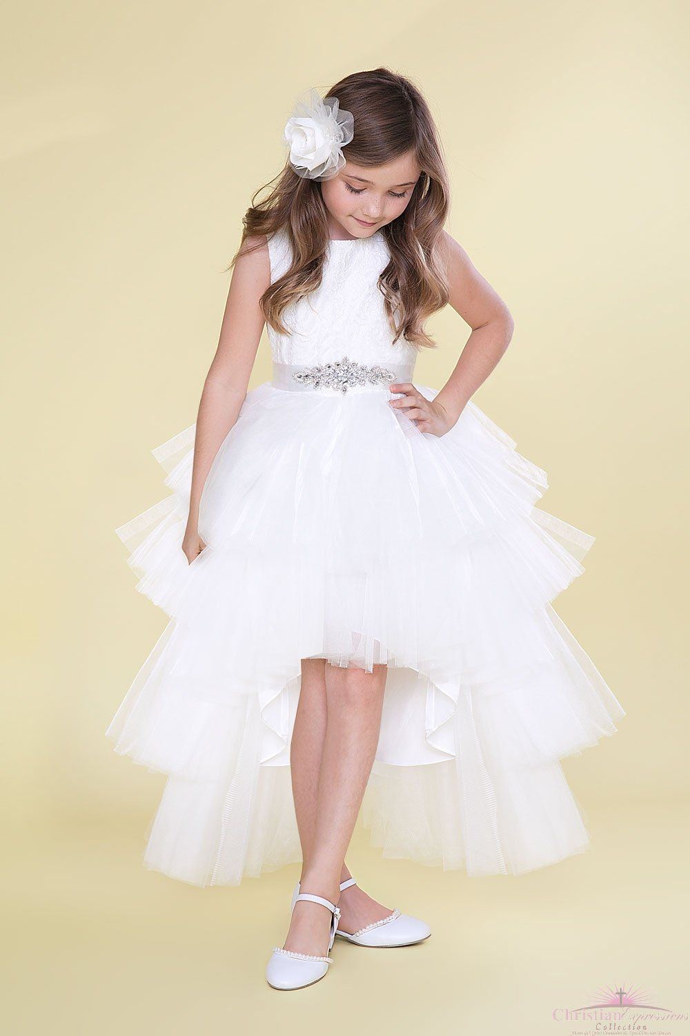 Layered Hi-Low First Communion Dress with Lace Bodice  f79f64608cd0