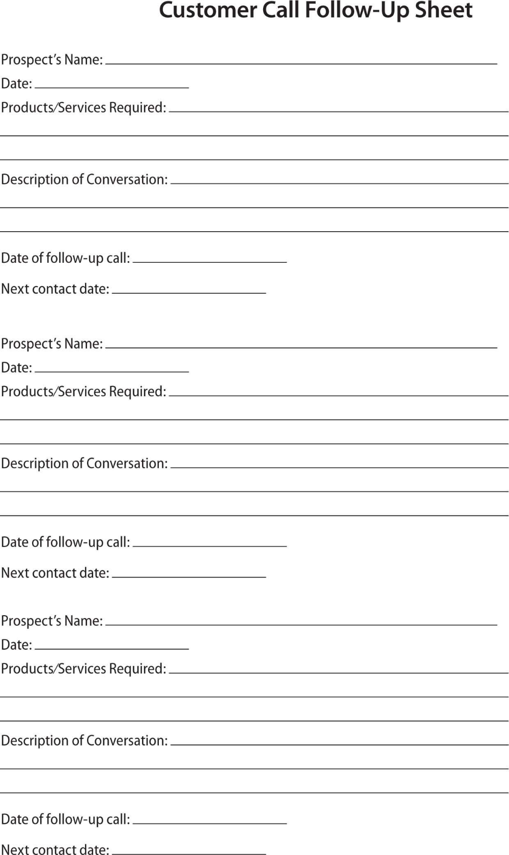 Prospect Sheet Customer Call Follow Up Call Sheet Catering Intended For Customer Contact Report Template 10 Sales Report Template How To Plan Business Tools