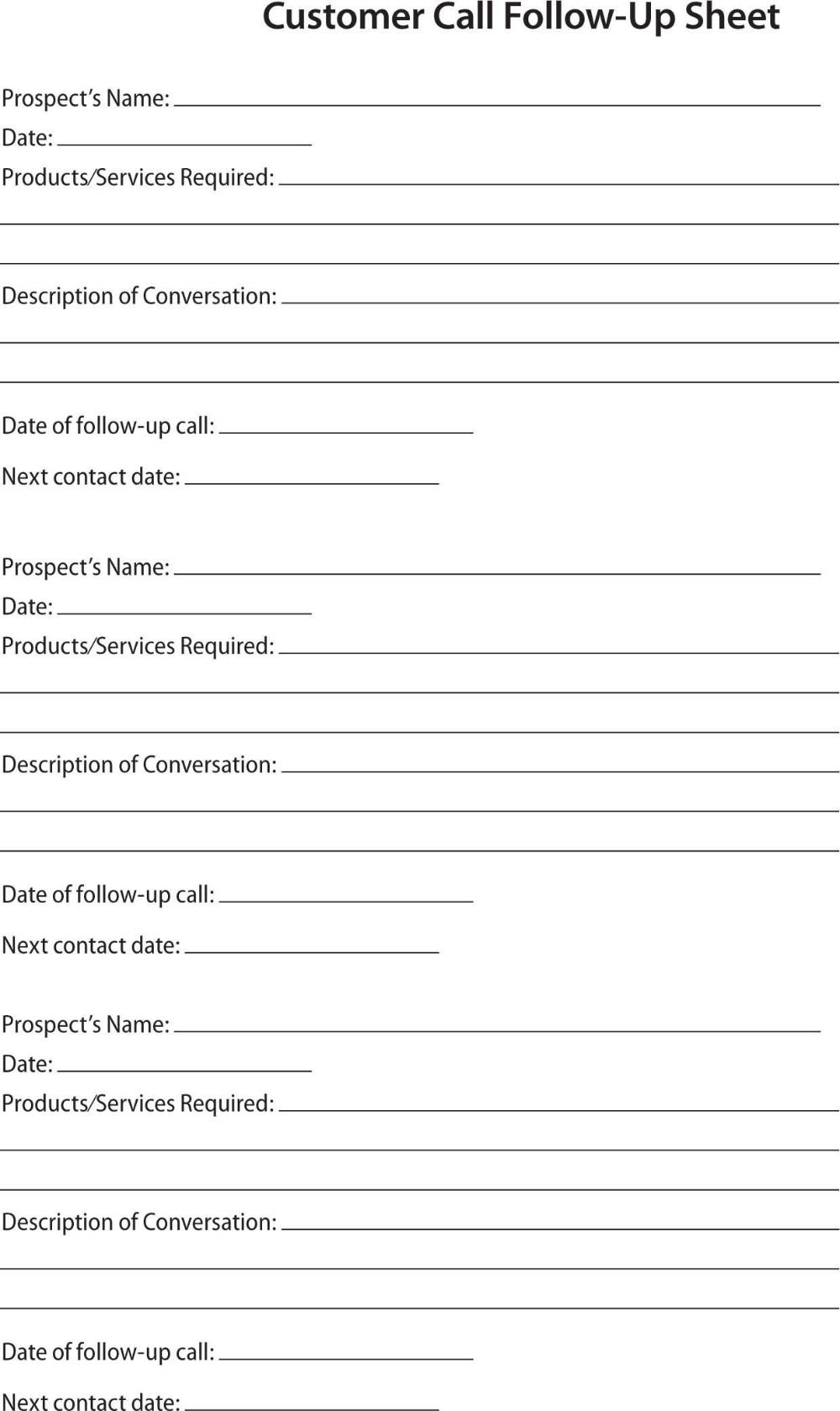 Prospect Sheet Customer Call Follow Up Call Sheet Catering