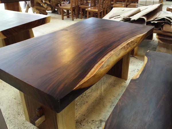 Suar Wood Furniture Dining Table Natural Shape Suar Wood