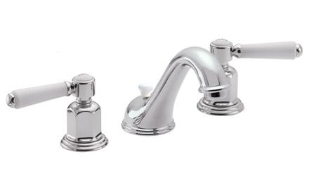 Belmont Faucet Polished Nickel White Handles For Guest Bath