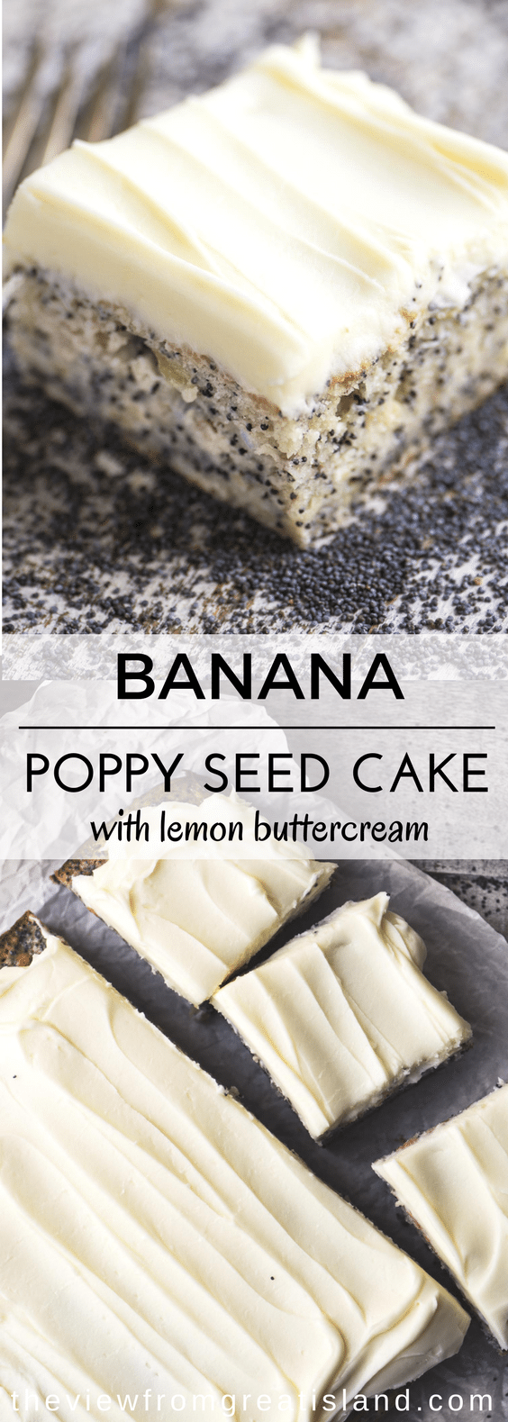 Banana Poppy Seed Cake with Lemon Buttercream #lemonbuttercream Banana Poppy Seed Cake with Lemon Buttercream ~ an easy snack cake made with bananas and poppy seeds, generoulsy topped with a lemon frosting ~ you can whip up this easy one bowl cake in no time. #cake #blondies #snackcake #bananacake #poppyseeds #poppyseedcake #lemonfrosting #lemoncake #coffeecake #dessert #easybananacake #baking #onebowlcake #lemonbuttercream Banana Poppy Seed Cake with Lemon Buttercream #lemonbuttercream Banana P #lemonbuttercream