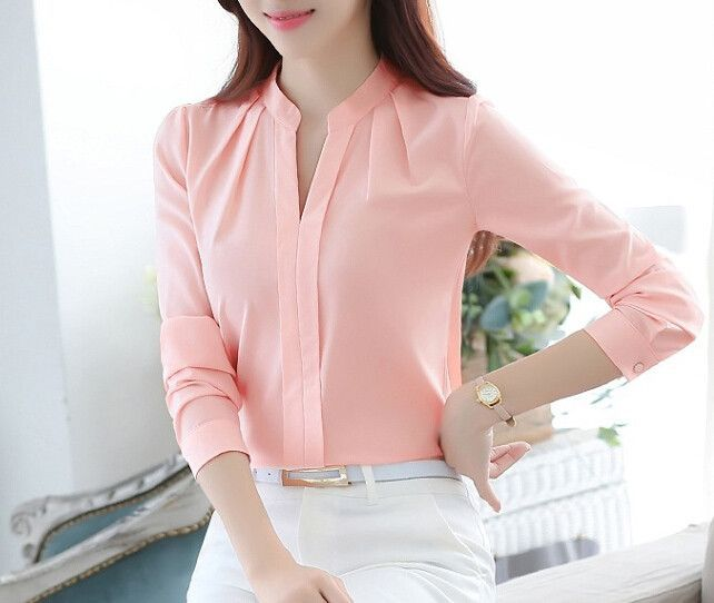 2016 women shirts blouses long sleeve stand collar elegant for Stand collar shirt womens