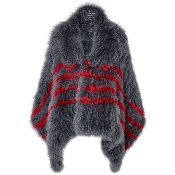 Cushnie et Ochs Striped Fox Fur Shawl In Gray And Red ($2,600) ❤ liked on Polyvore featuring accessories, scarves, coats, fur, striped scarves, wrap shawl, grey scarves, red scarves and gray scarves