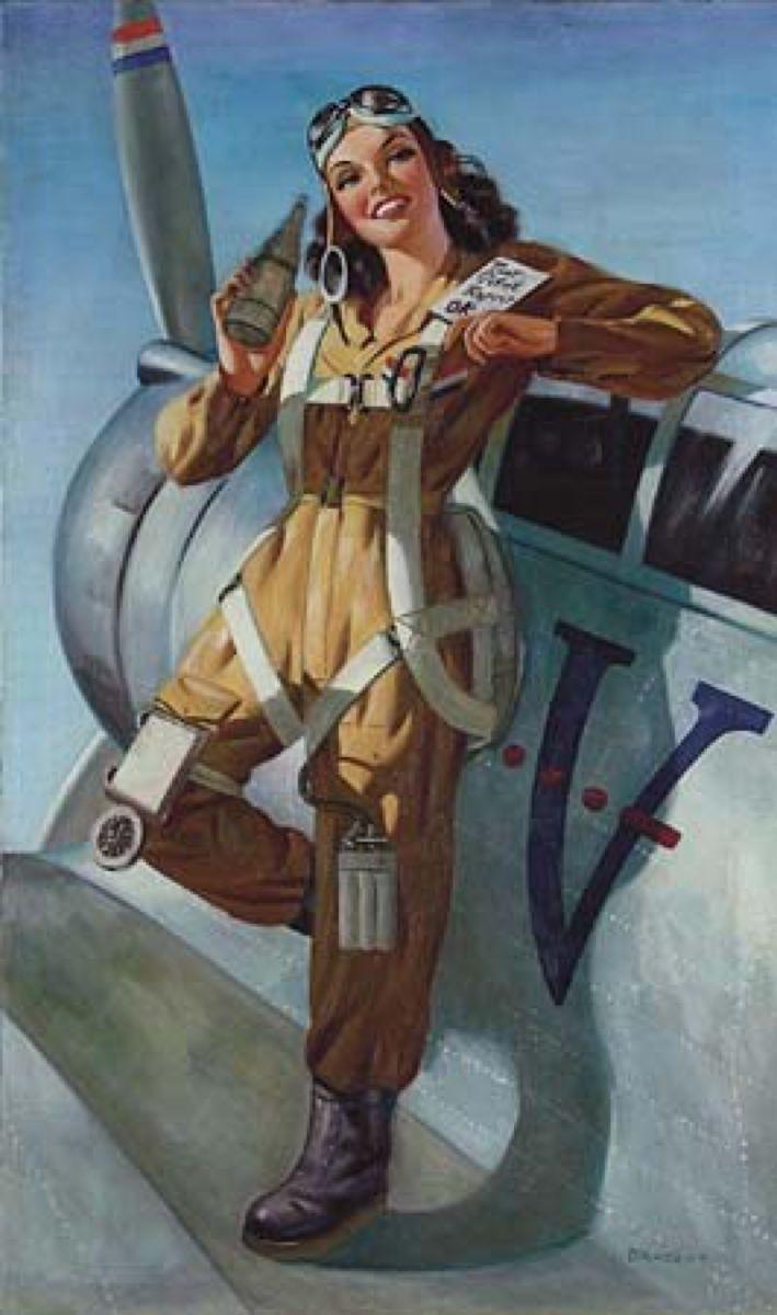 Днем иконы, девушка в военной форме рисунок авиация
