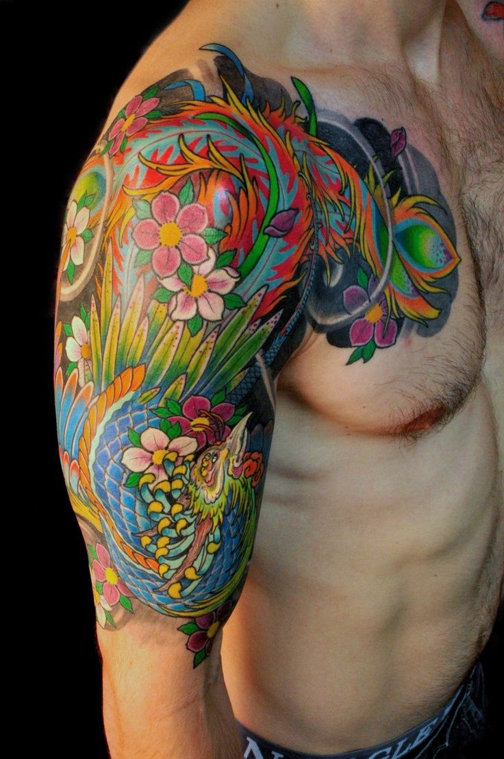 Colorful Phoenix Tattoo Half sleeve tattoos for guys