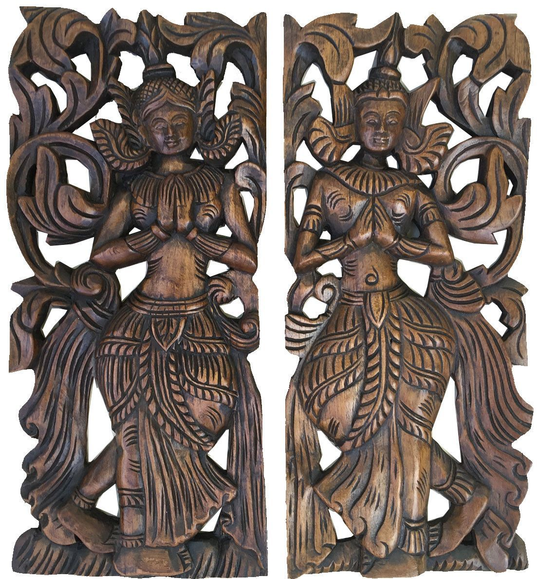 Oriental Wood Wall Decor. Carved Wood Wall Art. Decorative Thai Wood Carving  Wall Art