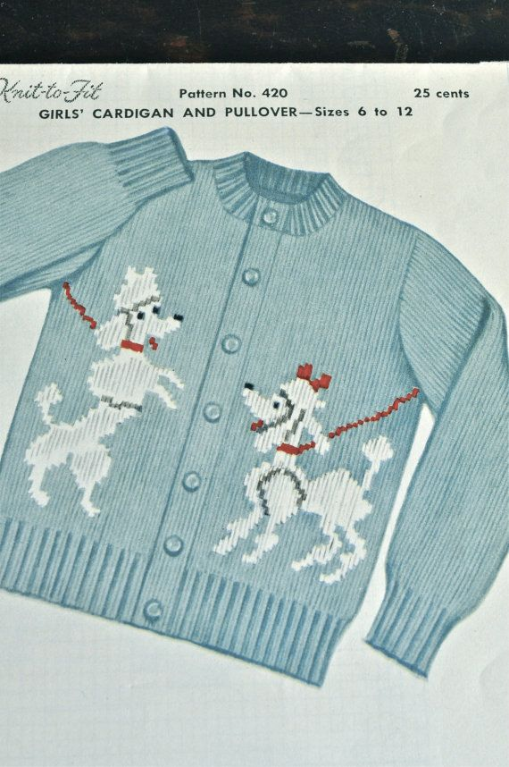04c7c4808 Vintage 1954 Poodle Cardgian Sweater Childrens Knitting Pattern Knit to Fit  Life Size Graph Pattern