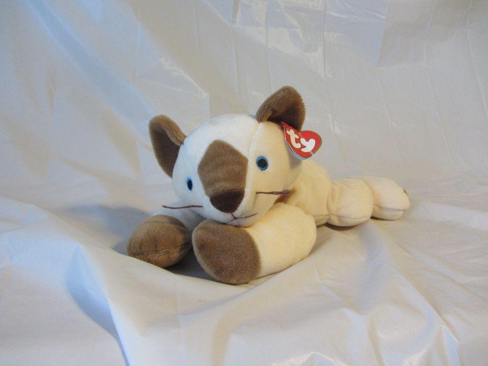 TY 1996 PILLOW PALS MEOW PLUSH STUFFED ANIMAL  Siamese  KITTY CAT  #3011 #Ty#siamese#1996