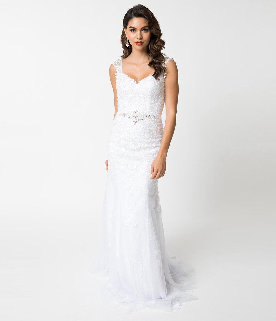 White Lace Sweetheart Crystal Fitted Mermaid Gown Lace Mermaid