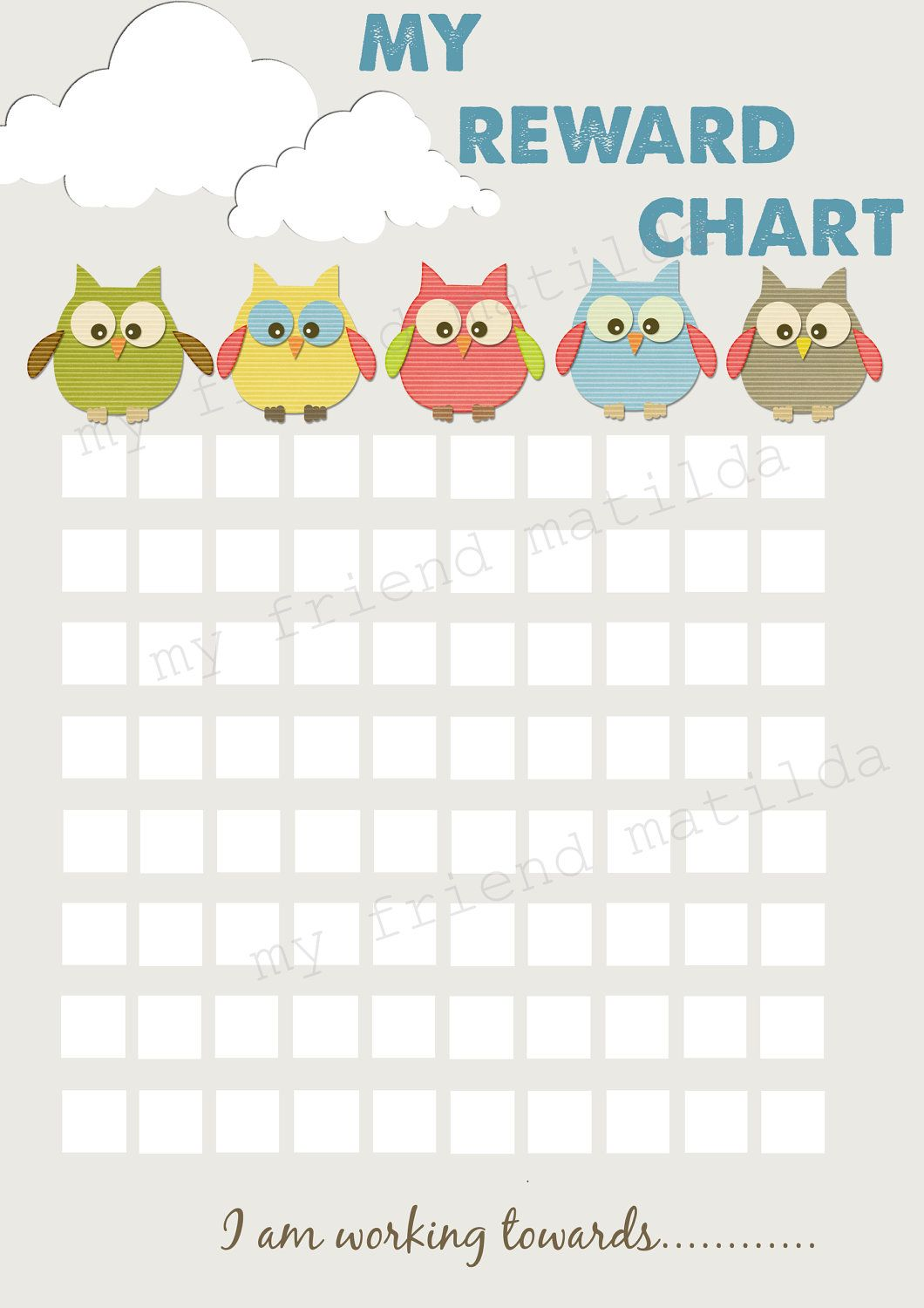 picture relating to Sticker Chart Printable Pdf identify Warm air Balloon Owl Gain Chart. Chore Chart. Printable