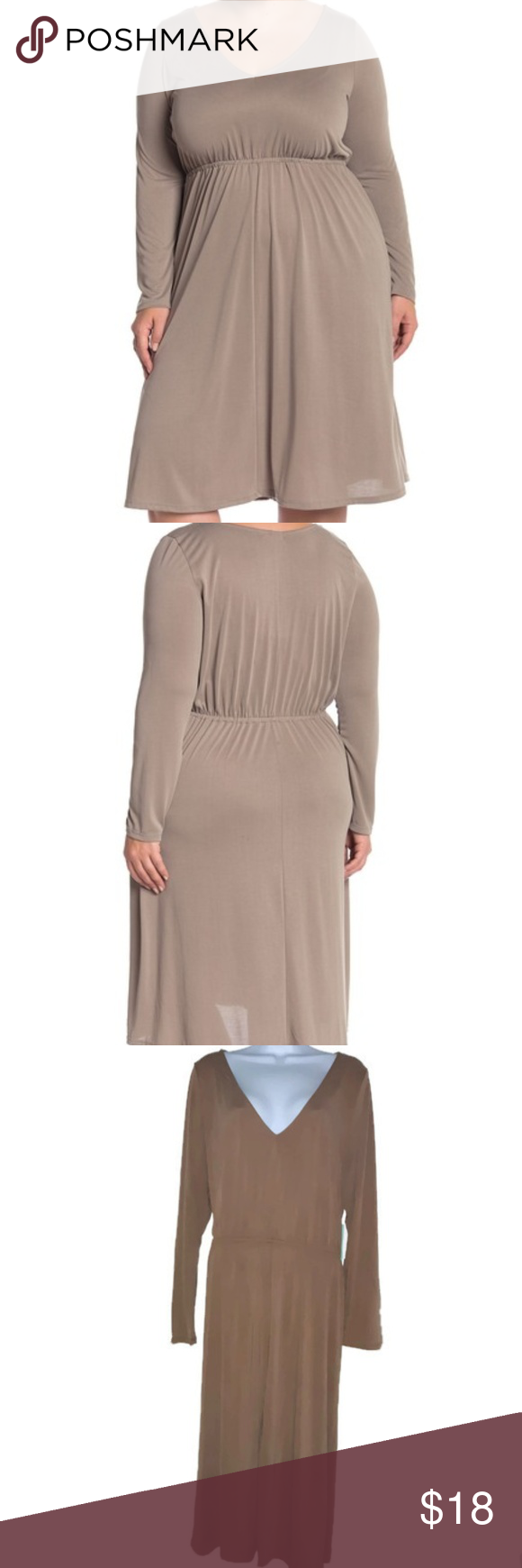Abound Size 3x V Neck Tan Long Sleeve Midi Dress Abound Women S Size 3x V Neck Tan Long Sleeve Midi Dress Nw Long Sleeve Midi Dress Long Sleeve Midi Midi Dress [ 1740 x 580 Pixel ]