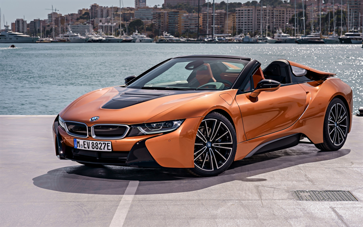 download wallpapers bmw i8 roadster  2018  front view  electric car  cabriolet  roadster  new