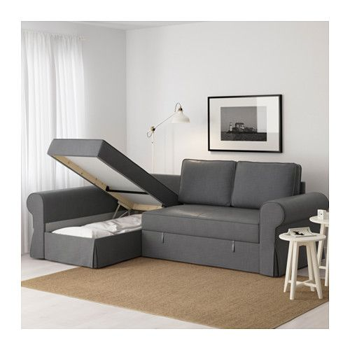 Backabro sofa bed with chaise longue nordvalla dark grey - Divano chaise longue ikea ...