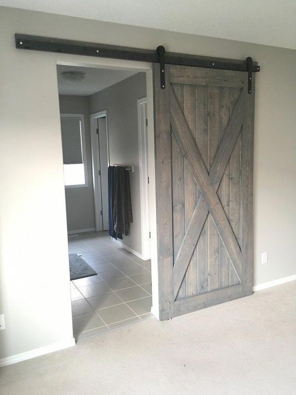 His Her Home Big X Weathered Grey Sliding Ensuite Barn Door Barn Door Farmhouse Farmhouse Doors Double Barn Doors