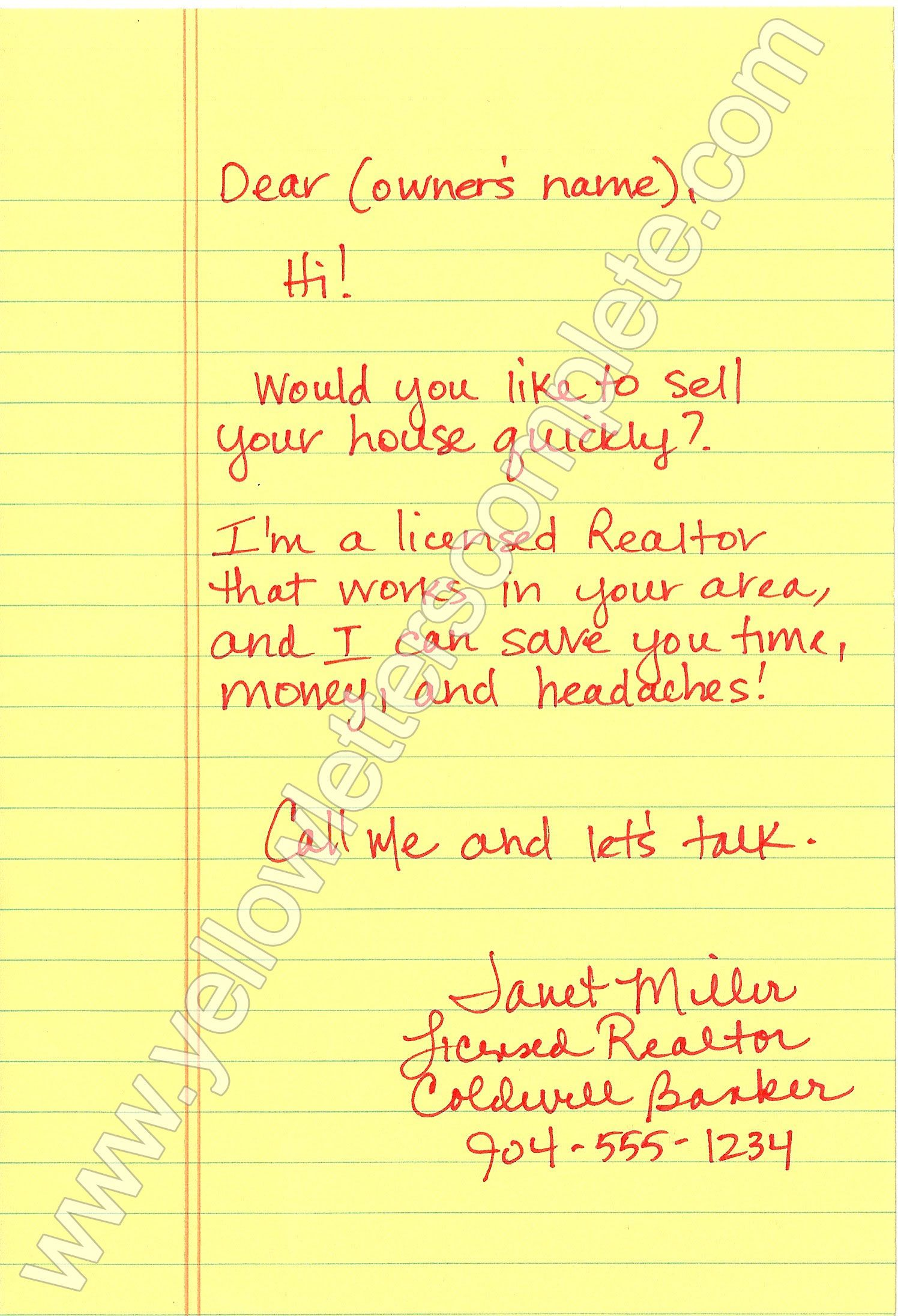Yellow Letter Templates Letter Templates Real Estate And Real - Yellow letter template