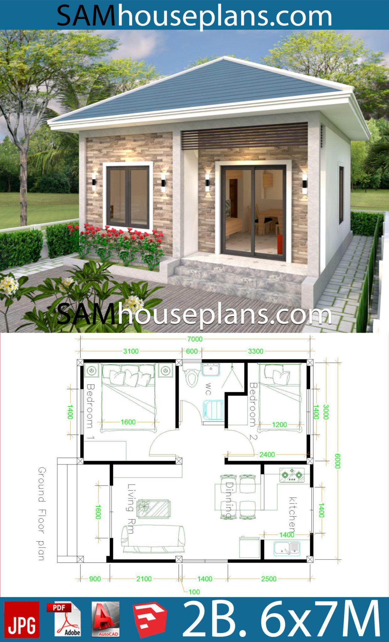 Simple House design 6x7 with 2 bedrooms Hip Roof - Sam ...